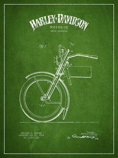 Harley Davidson Shock Absorber Patent Drawing From 1925 - Green Print By Aged Pixel