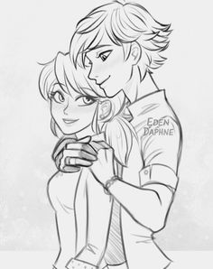Marinette and Adrien as a romantic couple sketch drawing from Miraculous Ladybug and Cat Noir
