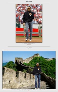 Background in Barack Obama's photo changed from stadium to Great Wall of China. Quick photo editing is free.  http://www.freephotoediting.com/samples/change-background/035_move-barack-obama-to-great-wall-of-china.htm