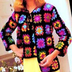 Motifs Granny Square, Granny Square Sweater, Sunburst Granny Square, Granny Square Bag, Crochet Motifs, Granny Square Crochet Pattern, Granny Squares, Crochet Patterns, Crochet Ripple