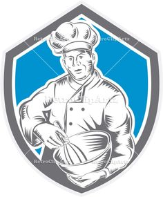 artwork, baker, bowl, chef, cook, crest, food, food worker, holding, illustration, isolated, male, man, mixer, mixing, retro, shield, woodcu...