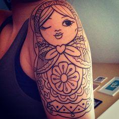 Russian doll tattoo. Lines. Half sleeve. Nesting doll tattoo. Girl. Doll. Matryoshka doll.