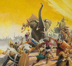 Battle of Zama between Carthage and Rome, Second Punic War, 202 BC Ancient Rome, Ancient History, War Elephant, Punic Wars, Roman Warriors, Roman Soldiers, Roman History, Ancient Civilizations, Art Prints