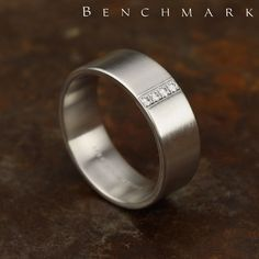 Benchmark Wedding Rings This wonderful comfort-fit pave set satin-finished band features a cente Diamond Wedding Bands, Diamond Rings, Diamond Engagement Rings, Bling Wedding, Wedding Rings, Ideal Cut Diamond, Fashion Rings, Gold Jewelry, Beautiful Bride