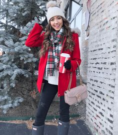 Hi everyone + Happy (Cyber) Monday! Today I wanted to round up the best Cyber Monday deals for all of you since there are so many great sales happening! Red Coat Outfit, Red Sweater Outfit, Parka Outfit, Red Winter Coat, Winter Coat Outfits, Winter Wardrobe, Winter Style, Fall Outfits, Red Rain Jacket
