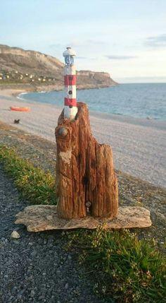 Driftwood lighthouse. Ian Baird, Driftingwild, Isle of Portland, Dorset, UK