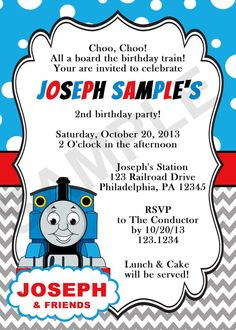 ilfullxfull invitation templates  thomas and friends, party invitations
