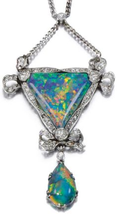 OPAL AND DIAMOND PENDANT, EARLY 20TH CENTURY. Centring on triangular opal within a border of twisted ribbon and bow design set with single-cut and rose diamonds, suspending a pear-shaped opal drop, to a flattened curb link chain.