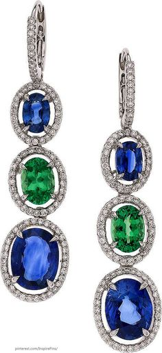 Sapphire, Tsavorite Garnet, Diamond, White Gold Earrings 18k white gold with sapphire, tsavorite garnet and approximately 1.00 carat total weight of diamonds.