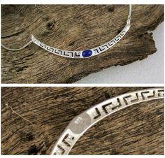 Meander-Greek Key ~ Sterling Silver Necklace with Lapis Lazuli - Greek Jewelry