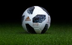 5ceb80e6d Download wallpapers Adidas Telstar 18, Football Ball, World Cup 2018,  Adidas, Russia 2018, green football lawn, photoshoot