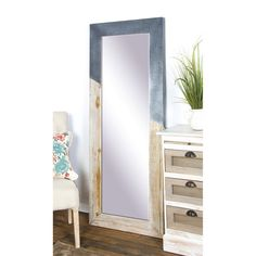 Strengthen the rustic theme of your living space with the DecMode Wood and Iron Rectangular Framed Full Glass Wall Mirror - x in. The full-length. Mirror With Shelf, Wood Mirror, Beveled Mirror, Window Mirror, Mirror Mirror, Blue Wall Mirrors, Easy Frame, Mirror Panels, Contemporary Wall Mirrors
