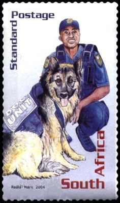 Stamp: Dog Unit (South Africa) years of National Police) Mi:ZA 1631 National Police, 10 Years, South Africa, African, The Unit, Baseball Cards, Dogs, Postage Stamps, Pet Dogs