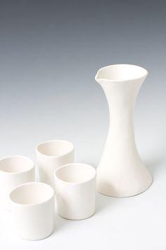 Small Satin White Pottery Sake Pitcher / Ceramic Hourglass Flower Bud Vase - Pottery Gift - Handmade - Sake serving ready to ship.