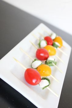 Caprese salad kabobs-I drizzled balsamic vinaigrette over the skewers before serving.