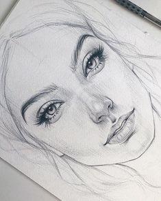 Pencil Drawings En raison d'un défaut de papier, la jeune fille aura une cicatrice sur la joue :( Из-за д . Portrait Au Crayon, Pencil Portrait, Pencil Art Drawings, Art Drawings Sketches, Sketches Of Faces, Sketches Of People, Sketches Of Girls, Face Pencil Drawing, Girl Sketch