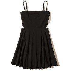 Hollister Cutout Knit Skater Dress (€12) ❤ liked on Polyvore featuring dresses, hollister, black, skater skirt dress, strappy skater dress, cut-out skater dresses, strap dress and side cut-out dresses