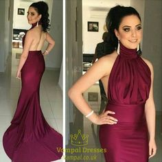 vampal.co.uk Offers High Quality Burgundy Halter High Neck Backless Mermaid Prom Dress With Train,Priced At Only USD $123.00 (Free Shipping)
