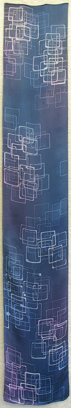Hand Dyed Satin Silk Scarf - Squares in Grays, Steel Blue, Navys, Mauves, Pink and White (11x60 inches) by Laura Elderton www.etsy.com/shop/lauraelderton