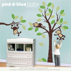Wall decals : 3 Monkeys and Tree - Nursery Kids Removable Wall Vinyl Decal - All Kids love this Wall sticker