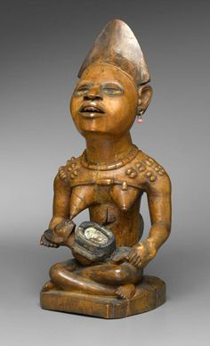 Africa | Mother and child (Phemba) from the Kongo (Yombe subgroup) people of DR Congo | 19th century | wood, beads, glass mirror, metal and resin