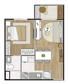 apartamento de 28m2 - Buscar con Google Studio Apartment Layout, Apartment Design, Small House Plans, House Floor Plans, Home Building Design, House Design, Small Rooms, Small Spaces, Tiny Studio