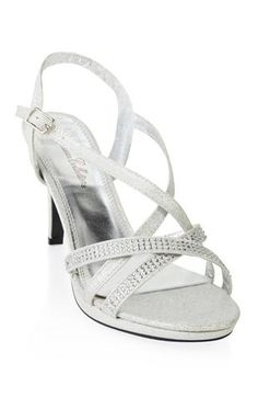 open toe glitter low heel with rhinestones... I want these in silver and black.