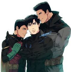 Damian, nightwing and bruce