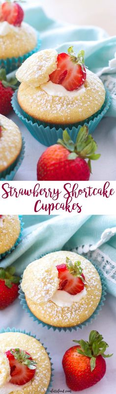 These easy strawberry shortcake cupcakes are light, fluffy, and filled with a whipped cream frosting!