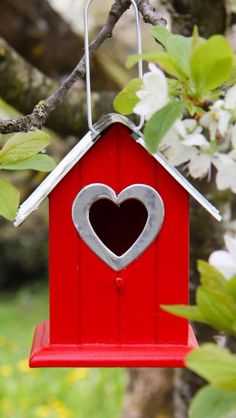 Red Birdhouse with Heart Entrance ....
