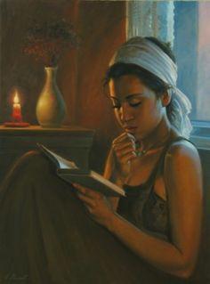 """Lecture"" by Emmanuel Garant Québécois (né en Reading Art, Woman Reading, I Love Reading, Reading Library, I Love Books, Good Books, Books To Read, People Reading, Literatura"