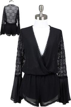 Isla Bell Sleeve Lace Back Romper - Black