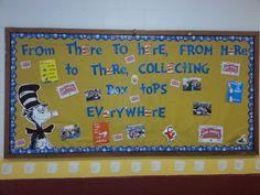 Bruceton School Dr. Seuss/Box Tops bulletin board.