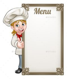 Buy Cartoon Woman Chef Menu by Krisdog on GraphicRiver. Cartoon female woman chef or baker character giving thumbs up with menu sign board Food Graphic Design, Food Menu Design, Food Poster Design, Baking Logo Design, Cake Logo Design, Logo Chef, Homemade Recipe Books, Chef Pictures, Cartoon Chef