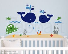 Whale and Friends Wall Decal by Zapoart on Etsy https://www.etsy.com/listing/106322515/whale-and-friends-wall-decal