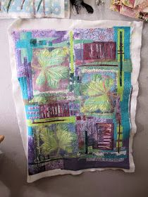 I seem to have taken a very long time getting this third chestnut leaf gelli print piece quilted. It is bigger than the others . Gelli Plate Printing, At Last, Student Work, Craft Gifts, Fiber Art, Printmaking, Take That, Embroidery, Quilts
