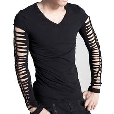 Gothic clothing by Punk Rave excels at combining classic dark alternative looks with modern style, like this slashed long-sleeve men& top. Gothic Fashion Men, Diy Fashion, Mens Fashion, Fashion Trends, Mode Alternative, Alternative Fashion, Punk Outfits, Gothic Outfits, Gothic Mode