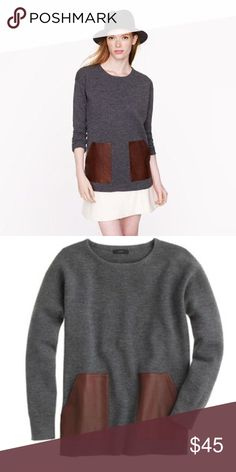 J Crew merino sweater with leather pockets sz XS Tags removed but never worn. J. Crew Sweaters Crew & Scoop Necks