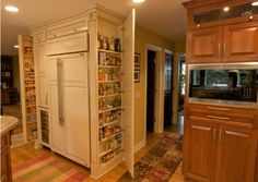 A pantry can be hidden almost anywhere. So try to take full advantage of every little inch of space you have in your kitchen. Whenever you find some free space, put up some shelves and, if you want, hide them behind a door. Also, you could have pull-out pantries that occupy very little space and that offer valuable storage space