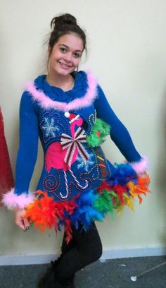 Pink Flamingo Tropical Light Up Tacky Ugly Christmas Sweater Dress Fun