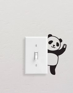 Panda Wall Decals, Panda Light Switch Decal, Simple Panda Vinyl Wall Decal, Panda Stickers, Light Switch Sticker Add style to simple switch plates with our Panda Wall Decal Set! This set includes five Simple Wall Paintings, Creative Wall Painting, Wall Painting Decor, Creative Art, Diy Wand, Unique Wall Art, Diy Wall Art, Mur Diy, Wall Drawing