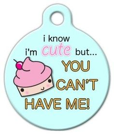 Dog Tag Art Custom Pet ID Tag for Dogs - Cute as a Cupcake - Large - 1.25 inch *** Hurry! Check out this great product : Dog tags for pets
