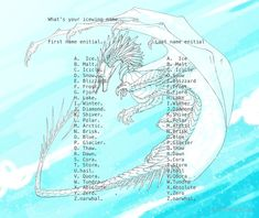 Tell me your icewing name Wings Of Fire Quiz, Wings Of Fire Dragons, Dragon Names Generator, Name Generator, Mythical Creatures Art, Fire Art, Warrior Cats, Drawing Challenge, Fire And Ice