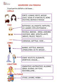 schema descrivere-una-persona Italian Grammar, Italian Vocabulary, Italian Phrases, Italian Words, Italian Language, Primary School, Elementary Schools, Social Service Jobs, Learn To Speak Italian