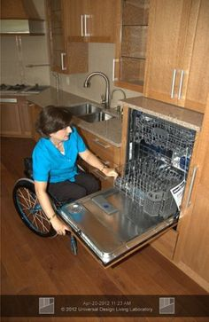 Raise up the d/w and create a drawer underneath as a bonus. I have seen this and it is great even for us not in a wheelchair!!!