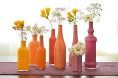 DIY pintar botellas y usarlas como jarrones
