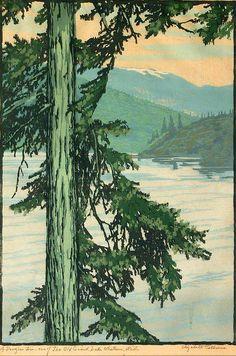 Elizabeth Aline Colburne (1885-1948) - Lake Whatcom, Washington. Woodblock Print. Circa 1929.