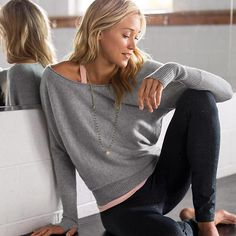 Mudra Cashmere Sweater | Athleta. I love the wide neck and dolman sleeve, but would not wear with a necklace. Probably big silver hoops and a simple bracelet.