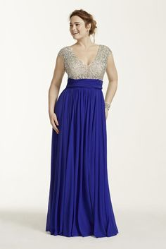 Plus Size Crystal Beaded Cap Sleeve Bodice Prom Dress - Royal (Purple), 18