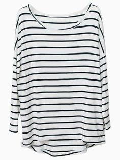 Black Stripe T-shirt With Raglan sleeve | Choies